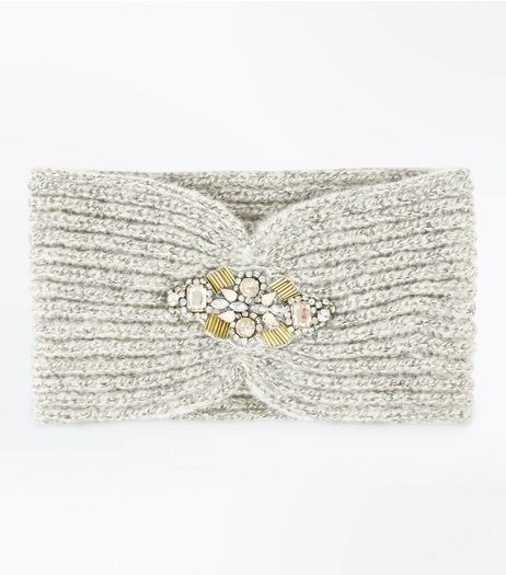 Grey Embellished Front Headband | New Look