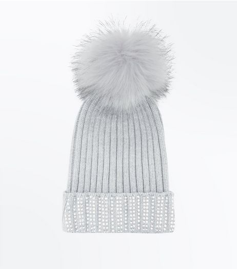 Grey Diamanté Trim Bobble Hat | New Look