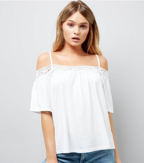 White Crochet Trim Cold Shoulder Top | New Look