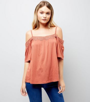 Light Brown Crochet Trim Cold Shoulder Top