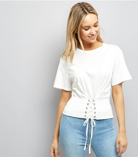White Shirred Corset Waist T-Shirt | New Look