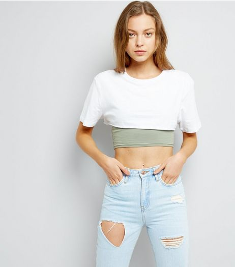 White Short Sleeve Extreme Crop Top  | New Look