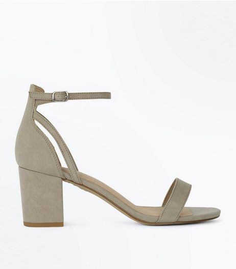 Grey Comfort Suedette Low Block Heels | New Look