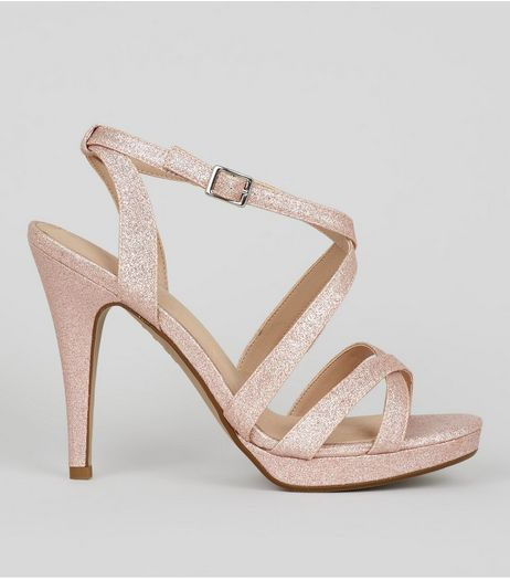 Rose Gold Comfort Glitter Cross Strap Heeled Sandals  | New Look