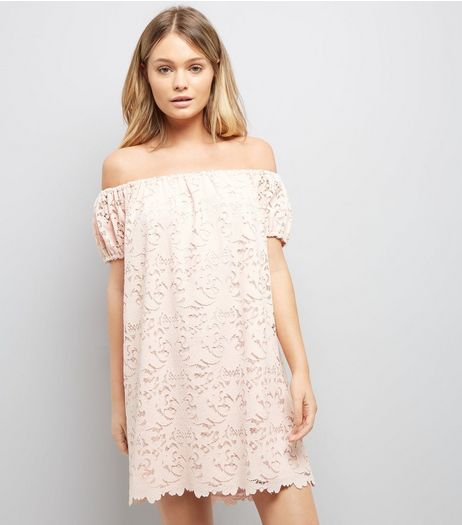 Light Coral Lace Bardot Mini Dress | New Look