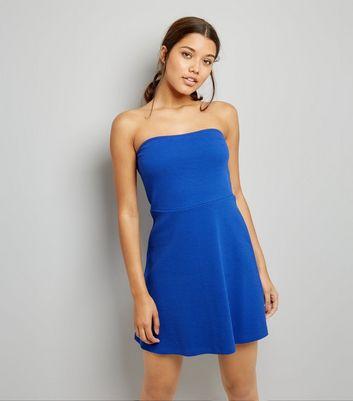 Blue Bandeau Skater Dress