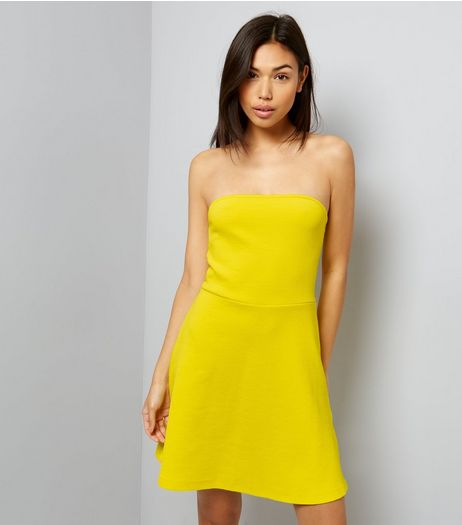 Yellow Bandeau Skater Dress | New Look