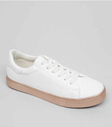 White Metallic Sole Trainers | New Look