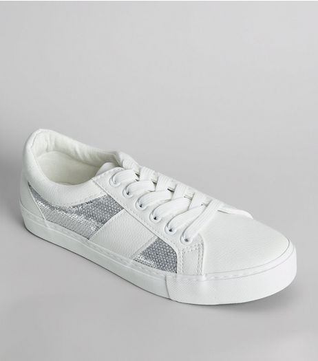 White Sequin Panel Lace Up Trainers | New Look