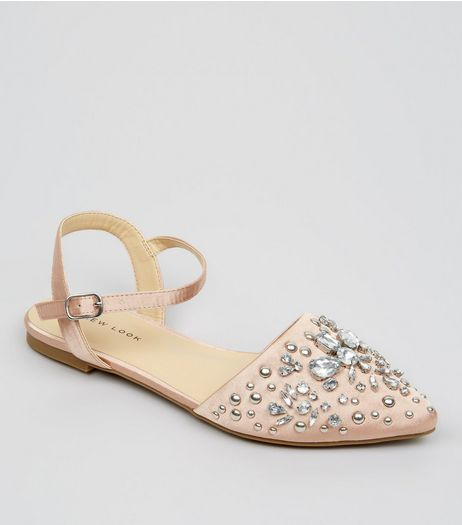 Pink Satin Embellished Sandals | New Look