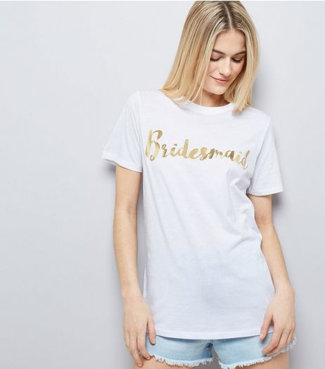 White Metallic Bridesmaid Front T-Shirt | New Look