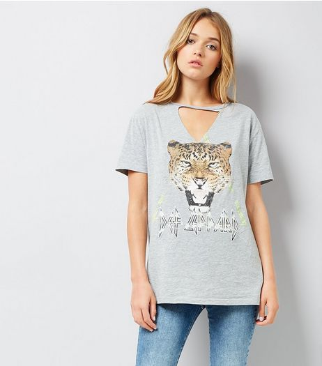 Grey Leopard Design Choker Neck T-Shirt | New Look