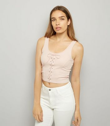 Pink Lace Up Ribbed Vest