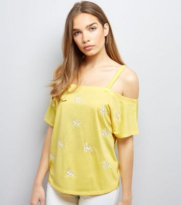 Yellow Floral Embroidered Cold Shoulder Top