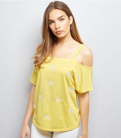 Yellow Floral Embroidered Cold Shoulder Top | New Look