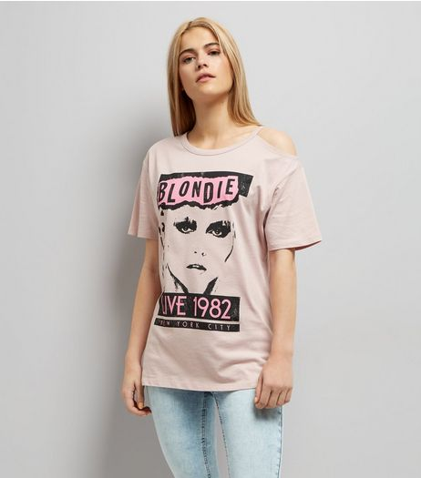 Pink Blondie Print Cold Shoulder T-Shirt  | New Look