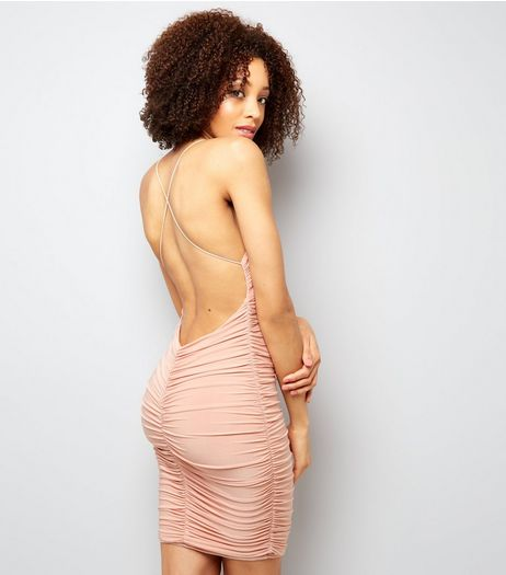 AX Paris Pink Ruched Backless Dress | New Look