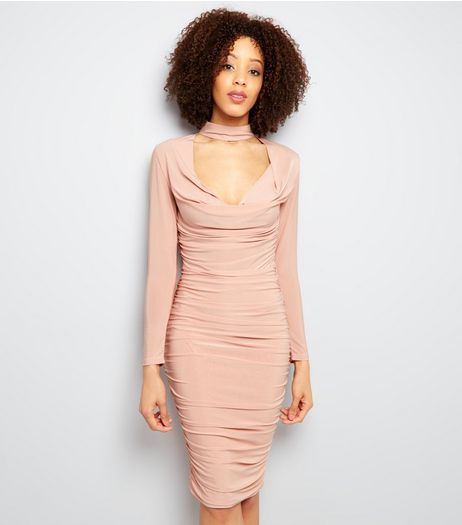 AX Paris Choker Neck Ruched Dress | New Look