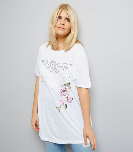 Curves White Empowered Slogan Fringe Trim T-Shirt | New Look