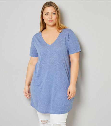 Curves Blue Textured Oversized T-Shirt | New Look