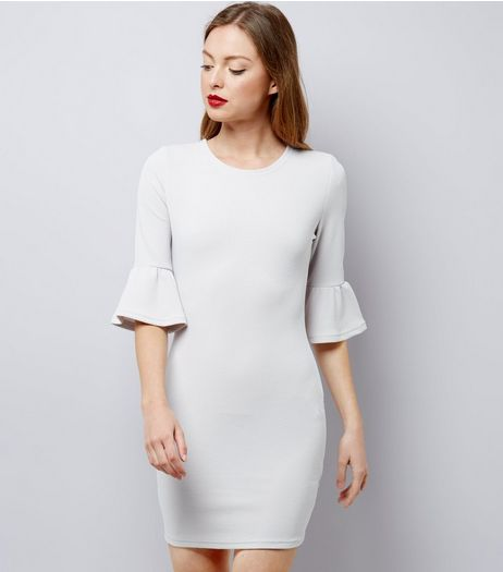 AX Paris Grey Bell Sleeve Dress  | New Look