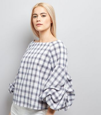 White Check Gathered Sleeve Top