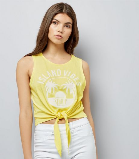 Yellow Island Vibes Knot Front Vest Top | New Look