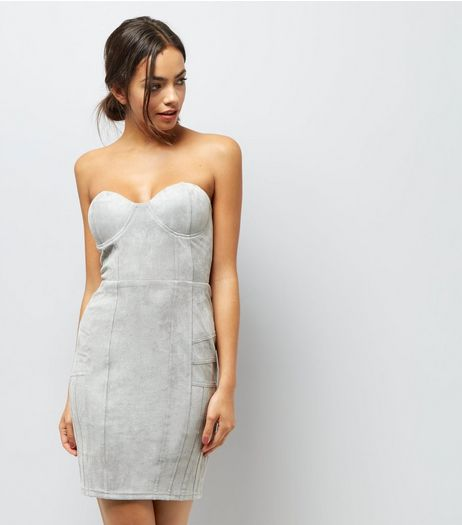 AX Paris Grey Bandeau Dress  | New Look