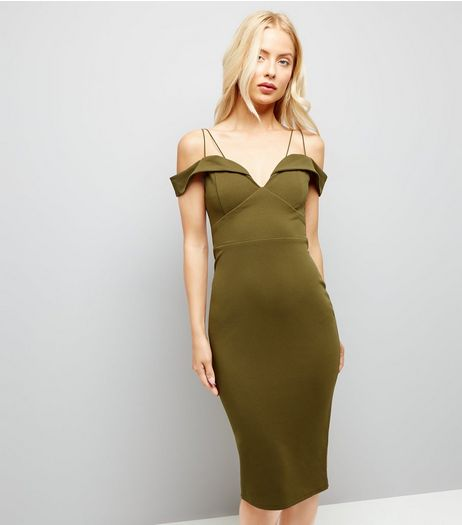 AX Paris Khaki Strappy Midi Dress | New Look