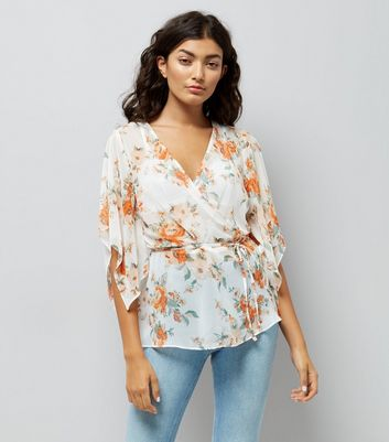 White Floral Print Hanky Sleeve Wrap Front Top