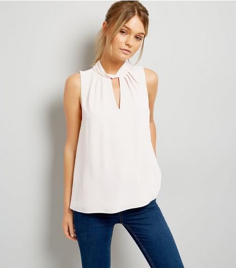 Pale Pink Twist Choker Neck Sleeveless Top | New Look