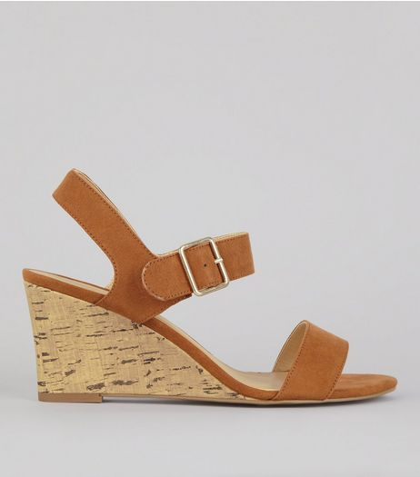 Tan Ankle Strap Cork Wedge Heeled Sandals | New Look