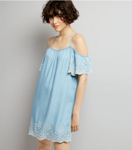 Blue Lace Embroidered Hem Cold Shoulder Dress | New Look