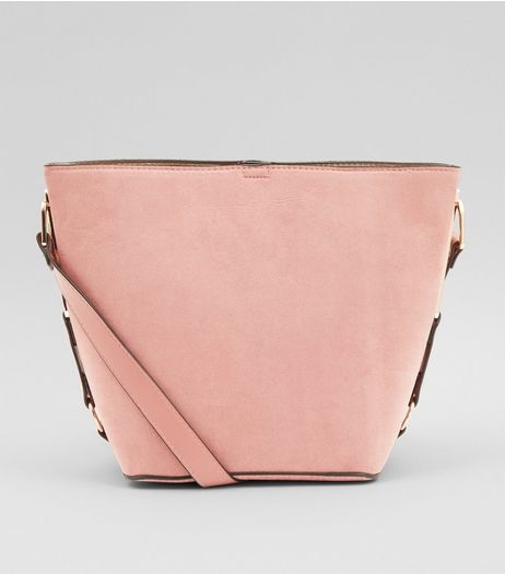 Shell Pink Suedette Bucket Bag | New Look