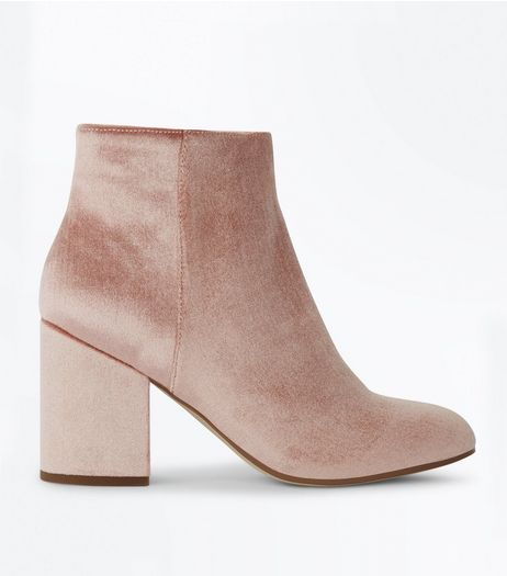 Pink Velvet Block Heel Boots | New Look