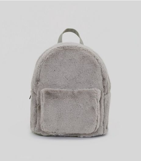 Grey Faux Fur Backpack | New Look