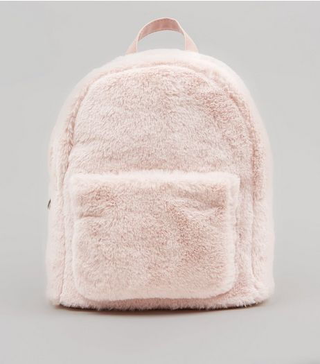Shell Pink Faux Fur Mini Backpack | New Look