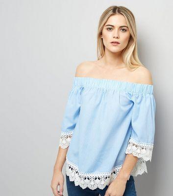 Blue Crochet Lace Trim Bardot Neck Top