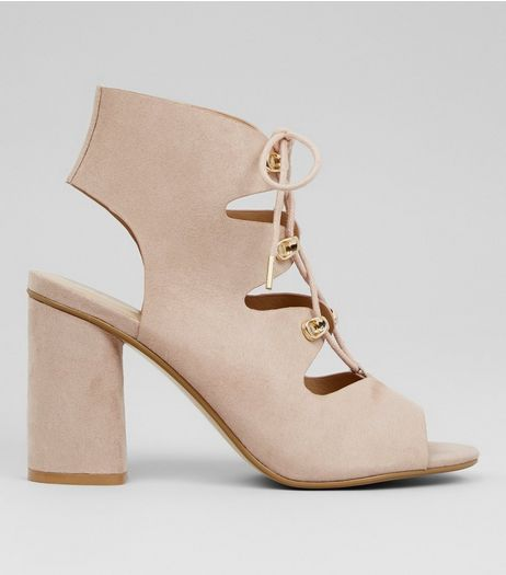 Wide Fit Cream Suedette Lace Up Sandals | New Look