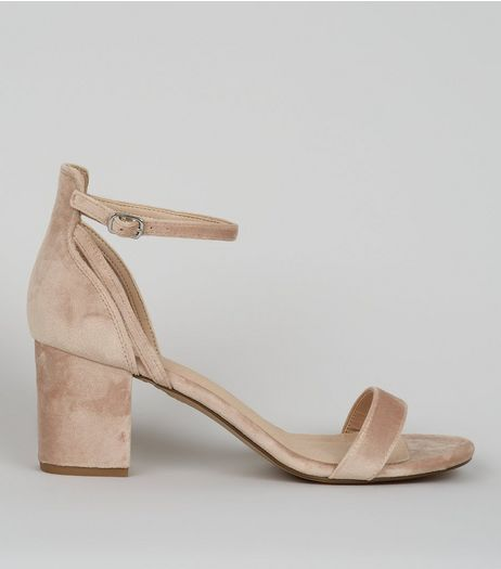 Nude Pink Velvet Low Block Heeled Sandals  | New Look