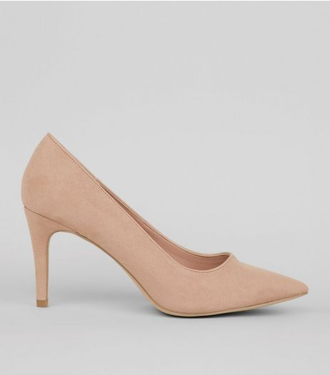 Nude Pink Comfort Suedette Pointed Heels  | New Look