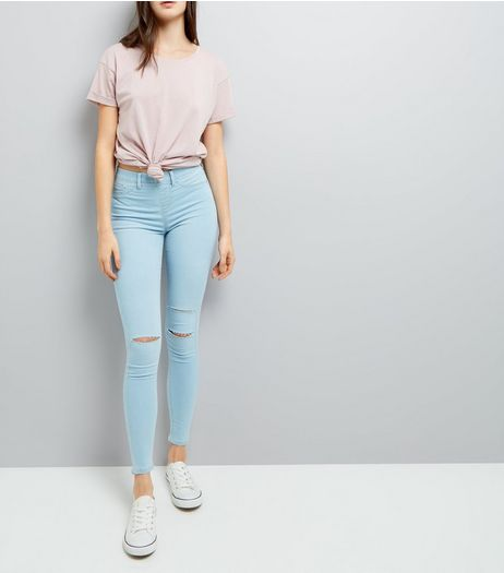 Blue Ripped Jeggings  | New Look