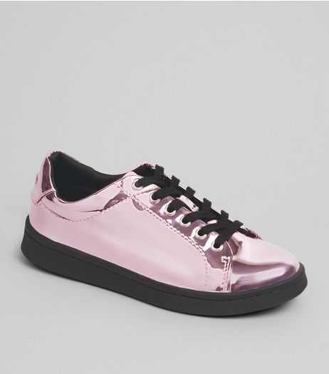 Teens Pink Metallic Lace Up Trainers | New Look