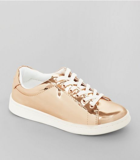 Teens Rose Gold Metallic Lace Up Trainers | New Look