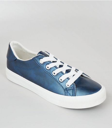 Teens Blue Metallic Lace Up Trainers  | New Look