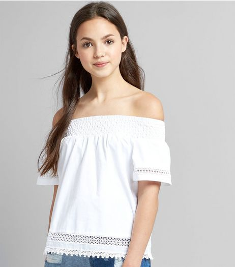 Teens White Crochet Bardot Neck Top  | New Look