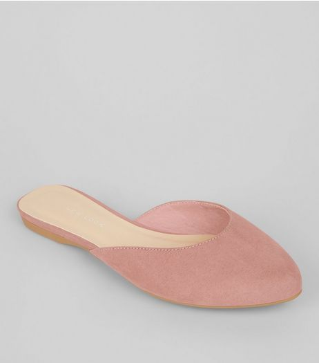 Wide Fit Nude Pink Suedette Mules  | New Look