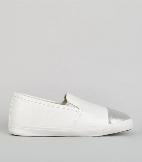Wide Fit Metallic Cap Slip On Plimsolls | New Look