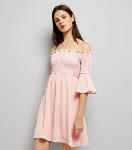 Cameo Rose Shell Pink Shirred Bardot Neck Dress  | New Look