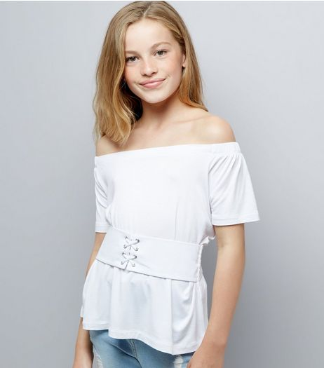 Teens White Corset Waist Bardot Neck Top  | New Look